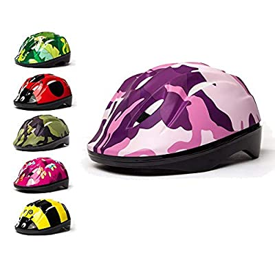 3Style Scooters® - Kids Cycle Helmet 6 Awesome Designs Pink Camo, Green Camo, Butterfly, Jungle, Ladybird, Bumblebee, - For Cycling, Skating, Scooting - Adjustable Headband Vented Design - Suitable For Kids Aged 4,5, 6, 7, 8, 9, 10 & 11 Years Old from 3St
