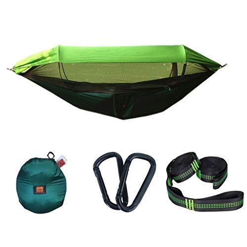 JLJ Sonnenschutznetze Winddichte Mücken Regenfest Offsite Camping Einzel Doppelschaukel Outdoor Hängematte Anti-Mücken 250cm × 120cm Blau Grün Rosa Gelb (Farbe : Grün, größe : 250cm×120cm)