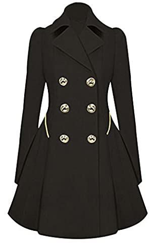 URqueen Women's Vintage Mid-long Slim Fit Double-breasted Button Trench Coat Black