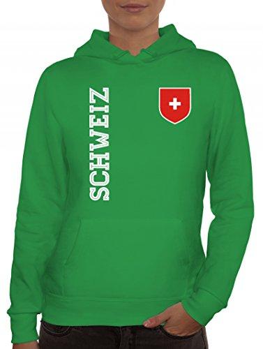 Swiss Fußball WM Fanshirt Gruppen Damen Hoodie Frauen Kapuzenpullover Fan Trikot Schweiz, Größe: L,Kelly Green