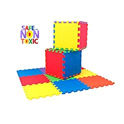 NON-TOXIC 9 Piece Children Play Exercise Mat - Foam Floor Puzzle Blocking Mats 6 Vibrant Colors for Kids Toddlers or Baby