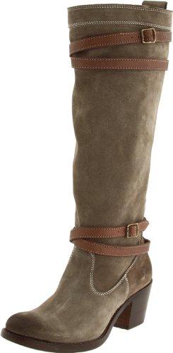 Frye jane strappy rond en cuir mode hauteur genou bottes neuves Gris - Fatigue