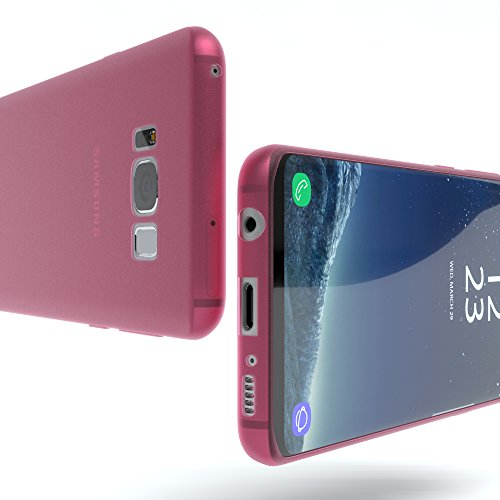 "EAZY CASE Handyhülle für Samsung Galaxy S8 Hülle - Premium Handy Schutzhülle Slimcover ""Brushed"" Aluminium Design - TPU Silikon Backcover in brushed Rot Matt Pink"