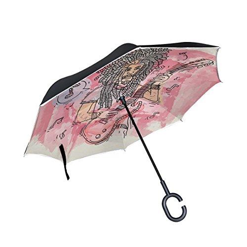 MUMIMI Dreads Playing Guitar Reverse Regenschirm, umgekehrt, doppelschichtig, Winddicht, UV-Schutz, umgekehrter Regenschirm mit C-förmigem Griff