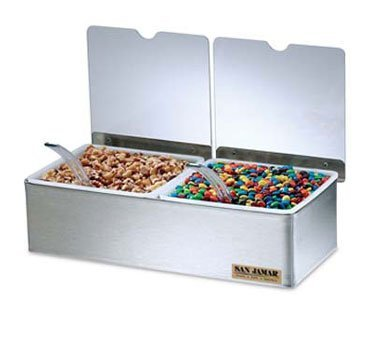 San Jamar B4122INL 2-Compartment Condiment Tray with Notched Lids by San Jamar -
