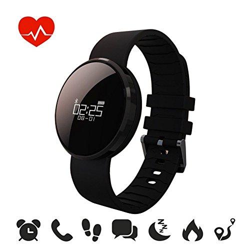 Fitness Tracker mit integrierter Herzfrequenzmessung am Handgelenk von Outry, wasserdichter Schrittzähler mit Anzeige von Schritten, Tagesziel, Kalorienverbrauch, Distanz, Schlafanalyse, Datum und Uhrzeit, Aktivitätstracker für Android und IOS(Generation 2)