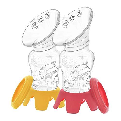 Tiralatte Manuale Portatile in Silicone Medico con Coperchio e Base d\'Appoggio; Senza BPA; Portata 120 ML