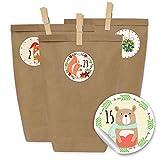 24 Adventskalender Kraftpapiertüten, Zahlenaufkleber und Klammern - DIY Set zum selber Basteln und zum Befüllen für Kinder - Mädchen und Jungen - Design 22