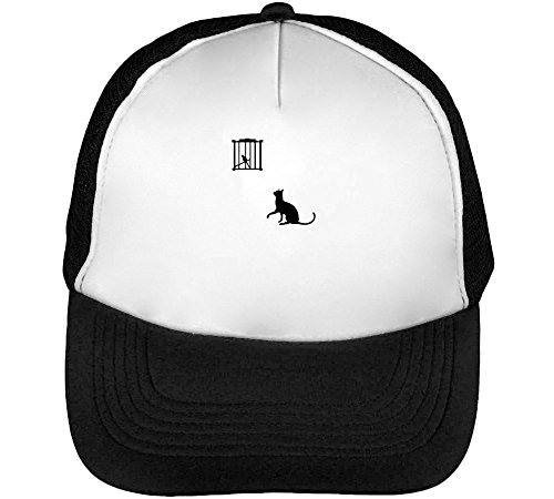 Cach Cach Cap (Black Cat Cach Bird Men's Baseball Trucker Cap Hat Snapback Black White)