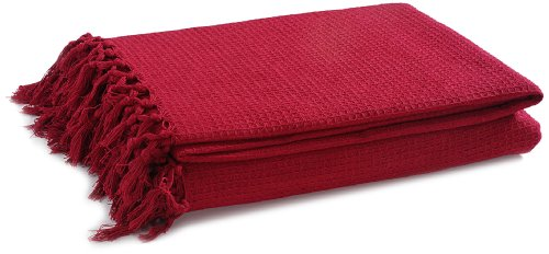 EliteHomeCollection - Colcha para sofá o cama de matrimonio (228 x 254 cm, 100% algodón), color rojo
