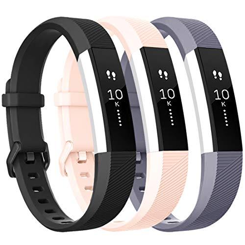 Tobfit Bracelet pour Fitbit Alta/Fitbit Alta HR Replacement en TPU Confortable Réglable Sport Bracelet Accessorie pour Fitbit Alta et Alta HR (No Tracker) (3-Pack Noir+Gris+Rose, Petit)