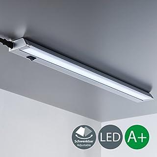 B.K. Licht réglette LED orientable, barre lumineuse cuisine, luminaire armoire cuisine buanderie dressing, titane, lumière blanche neutre, avec interrupteur, 230V, 8,5W, IP20