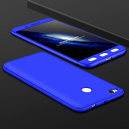 Ququcheng Xiaomi Redmi 4X Hülle,Xiaomi Redmi 4X Schutzhülle[Mit Displayschutz] 3 in 1 Ultra dünn Hard Shell Case 360 Grad Schutz Tasche Etui Handyhülle Cover für Xiaomi Redmi 4X-Blau