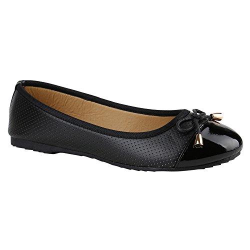 Klassische Übergrößen Damen Ballerinas Lederoptik Freizeit Flats Schuhe Schwarz Schwarz