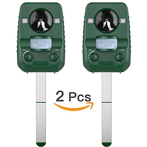 Repelente de gatos, Pack 2 unidades Repelente Ultrasónico para animales, Batería solar, para exterior, resistente al agua. Detector de perros, gatos, etc con estaca (palo) para tierra, jardine