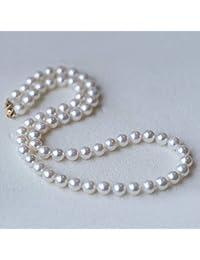 c884eb111a68 Lnyy Perla Collar Redondo Granos Fuerte luz Agua Dulce Collar de Perlas 14K  para Enviar Regalos