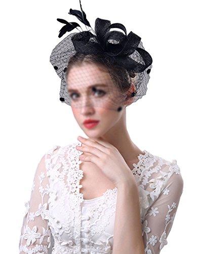 AiSi Damen vintage Haarschmuck, Retro Haarreif für Hochzeit und Party mit super schöne Tüll Blumen, Spitzen Lace Blumen Haarband, Braut Schmuck, Schwarz