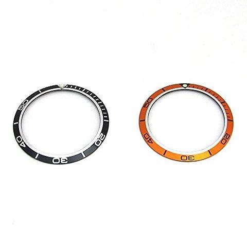 Insert de cadre pour Omega Planet Ocean montre Cadran pièce de rechange orange Noir, noir, 41.2mm