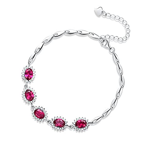 JiangXin Luxury Princess Diana Royal Engagement Style Created Pigeon Blood Red Ruby 925 Sterling Silver Bracelets Bridal Wedding Jewellery for