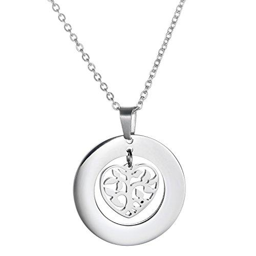 Collana con pendete a forma di cuore in albero - In acciaio inox - Regalo per neomamma e donne incinte - Albero della vita