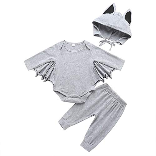 Infant Kostüm Pfau - Lazzboy Kleinkind Neugeborenes Baby Jungen Mädchen Halloween Cosplay Kostüm Strampler Hut Outfits Set Junge Fledermaus Kleidung Sets| Toddler Infant Girl Boy Bat(Grau,Höhe:90)
