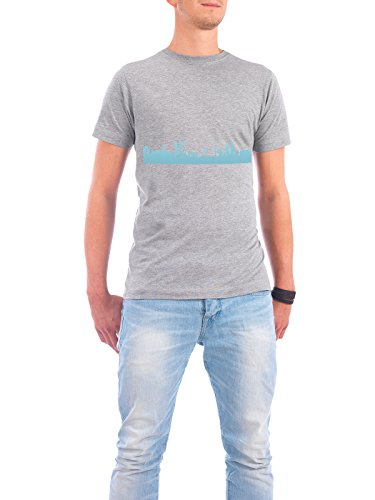 "Design T-Shirt Männer Continental Cotton ""ROTTERDAM 08 Skyline Pastel-Blue Print monochrome"" - stylisches Shirt Abstrakt Städte Städte / Weitere Architektur von 44spaces Grau"
