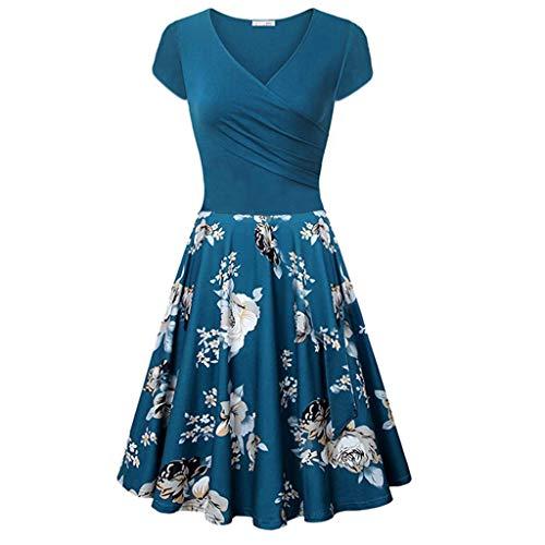 ZottomDamen Kurzarm-Kreuz V-Ausschnitt Kleider Vintage Elegante Ausgestelltes A-Line (Kate Hochzeit Kleid Kostüm)