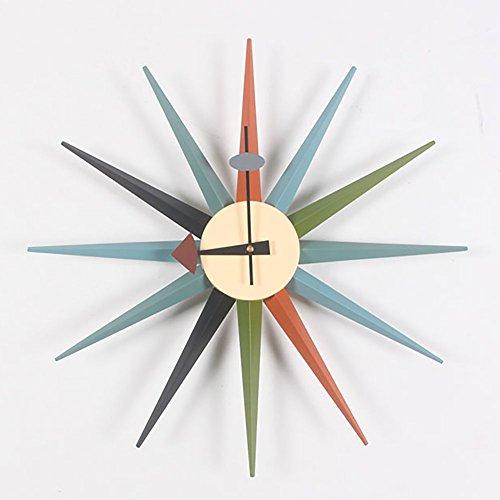 HHYS H663 Sonnendurchbruch Wanduhr Hölzern Mitte Des Jahrhunderts Mehrfarbig Handarbeit Antiquität Retro Nelson-Stil