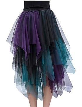 Mujer Plisadas Faldas De Tul Midi Falda Corto tutú de Noche Verano con Cintura alta Un tamaño Azul
