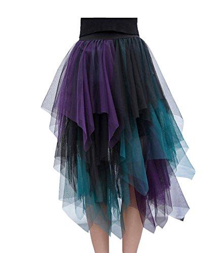 Damen Faltenrock Tüllrock Asymmetrisch Röcke Kurzer Skater Röcke Midirock Sommerrock Einheitsgröße Blau