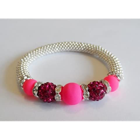 1 x Stunning Snowflake Neon Pink Glass & Fuschia Clay Disco Bead Bling Stretch Bracelet Kit ? No Tools Required ? by Angel Malone - Tie Nail Knot