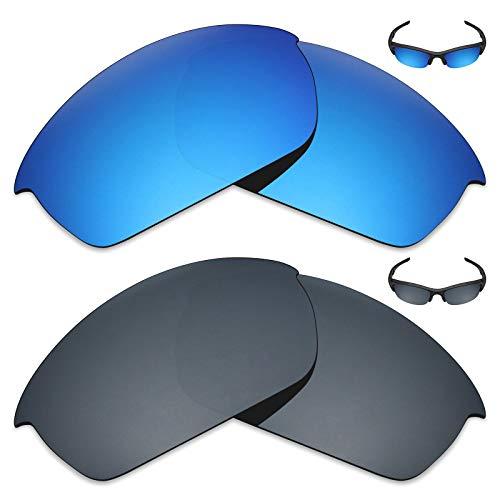 MRY 2Paar Polarisierte Ersatz-Gläser für Oakley Flak Jacket Sonnenbrille-Reiche Option Farben, Ice Blue & Black Iridium