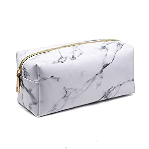 Marble Makeup Cosmetic Bag, leegoal Portable Cosmetic Storage Brushes Bag Pouch with Gold Zipper for Ladies/Women