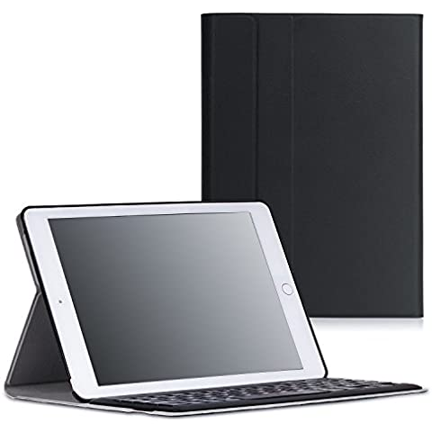 MoKo iPad Pro 9.7 Funda - Wireless Bluetooth Keyboard Case con PU Cuero Teclado Inalánbrico QWERTY Layout Para Apple iPad Pro 9.7 Pulgadas 2016 Tableta, Negro