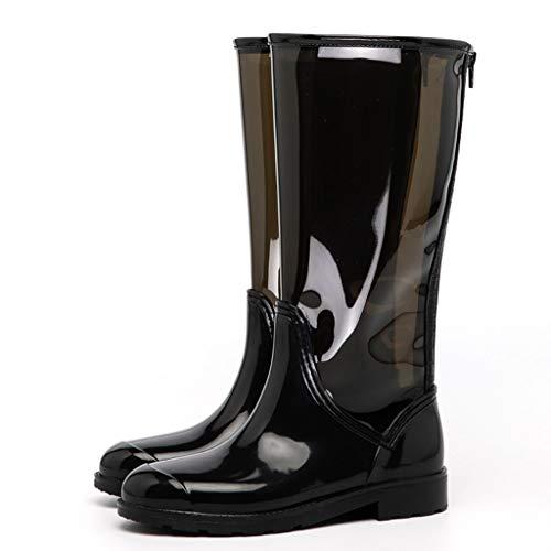 Wasser-park Tube (Regenstiefel Frauen Regen Stiefel High Tube Mode PVC wasserdicht rutschfeste glänzende Stiefel geeignet für Autowäsche und Outdoor Park spielen Wasser Tourismus Landwirtschaft Angeln |Schwarz)