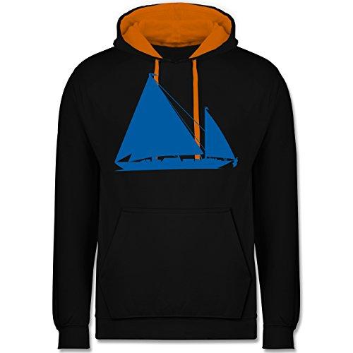 Schiffe - Segelboot - Kontrast Hoodie Schwarz/Orange