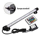 Impermeabile Acquario Luce 5050SMD RGB LED Acquario Serbatoio di Pesce Sommergibile Lampada con Telecomando 18CM - Rgb 18cm