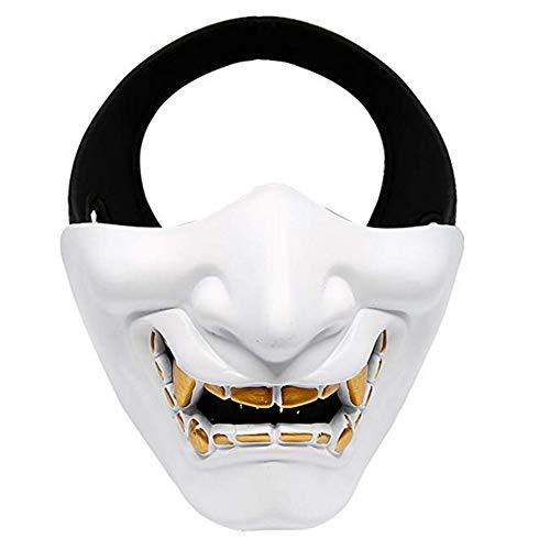 Yuahwyehe Devil Horror Smiley-Maske Perfekt Für Eine Spaßige Erinnerung,Halloween, Weihnachten, Ostern, Karneval, Kostüm-Partys, Themen-Partys Oder Einfach Den Gang in Einen Nachtclub,Weiß
