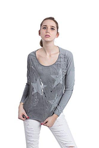 Abbino Futura Shirts Tops Damen - Made in Italy - Viele Farben - Übergang Frühling Sommer Herbst Damenshirts Damentops DamenT-Shirts Lässig Langarm Sexy Sale Freizeit Elegant Muster Grau (Art. 9825c1)