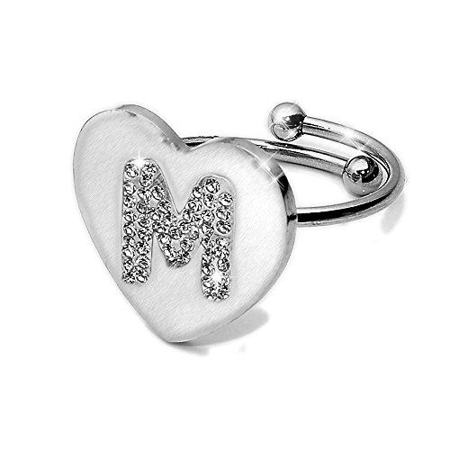 Beloved ❤️ anello da donna con cristalli in acciaio - con lettera iniziale - a forma di cuore - misura adattabile - lettera dell'alfabeto - vestibilità da misura 9 a 20 - argento (m)