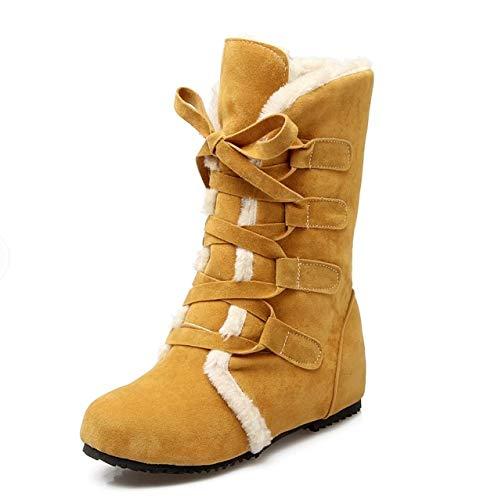andalen Neue Schneeschuhe Warme Große Größe 34-52 Frauen Stiefel Hohe Qualität Dicker Schnee Winter Schuhe Frau Mittleren Stiefel 509 10 Gelb ()