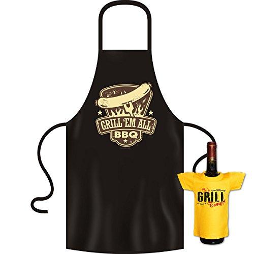 tolle bedrucke Grillschürze im Set + Mini T-Shirt Grill Geburtstag Geschenk Grill Schürze Kochschürze Latzschürze Partyschürze Küche Goodman Design®