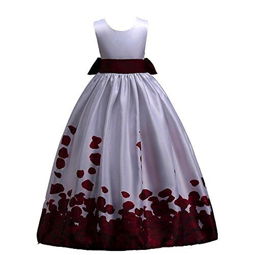 JUTOO Kleinkind Kinder mädchen Hochzeit Blume Kleid Spitze Prinzessin Party formelle Kleidung (Wein,120 ()