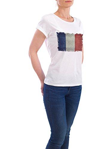 """Design T-Shirt Frauen Earth Positive """"Flag of France"""" - stylisches Shirt Reise Sport / Fußball von Bruce Stanfield Weiß"""