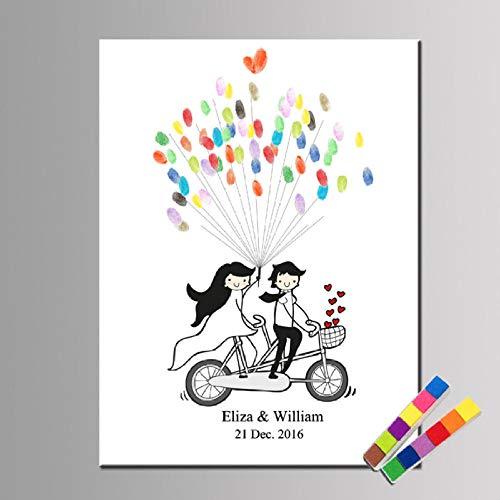Yqgdss Fahrrad Liebhaber Europäischen Hochzeit Fingerprint Anmelden Malerei Persönlichkeit DIY Kunst Registrierung Malerei Unterschrift Buch Dekoration Kinder Geschenk, 21X30 cm (Kunst-fahrrad)