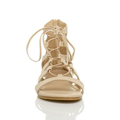 Ajvani Donna piatto allacciare arrotolare cinturino infradito gladiatore sandali numero Nudo opaco