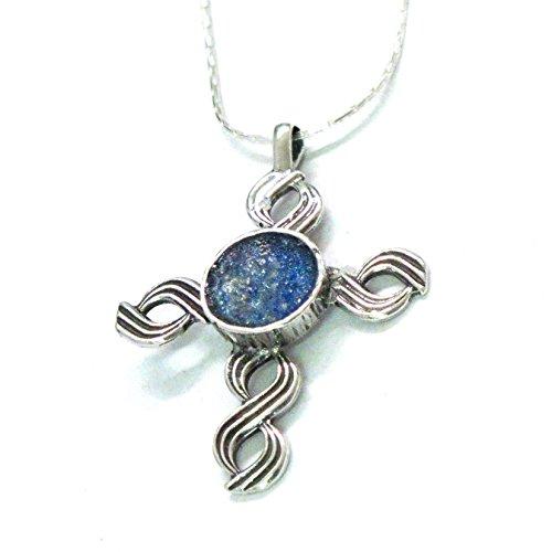 Handgefertigte Halskette mit Kreuz-Anhang Damenschmuck | Stein: blaues römisches Glas des 2.-4. Jahrhunderts | Kunsthandwerk by Niibuhr Jewelry -