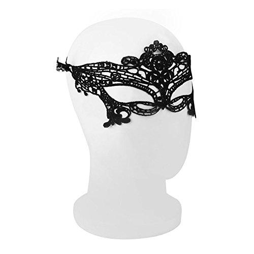 Sexy Lady schwarz Maske aus Spitze Hohl Out Catwoman Batman Schleier (Halloween Maske Sammlung)