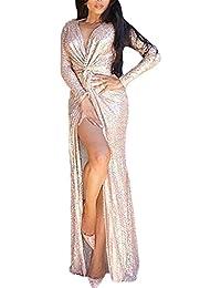 Damen Abendkleider Lang Elegant Festlich Langarm Tiefem V-Ausschnitt  Pailletten Geöffnete Gabel Meerjungfrau Champagner Abendmode 233d7ab2f4