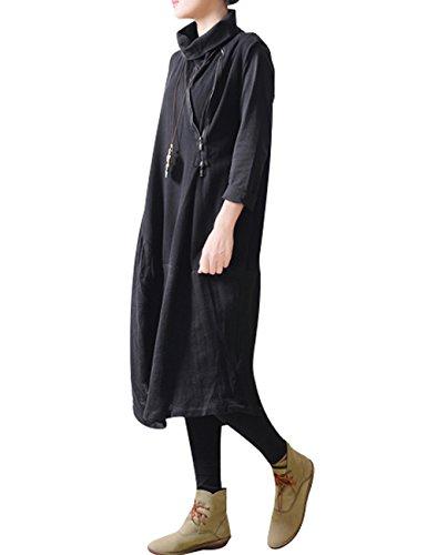 Youlee Donna Primavera Collo alto Irregolare maglia Vestito Stile 2 Nero